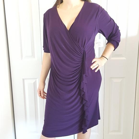 Kasper Dresses New Plus Size 20w Purple 34 Sleeve Dress Poshmark
